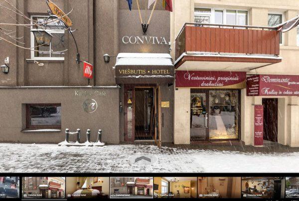 Viešbutis Conviva su street view verslo panorama